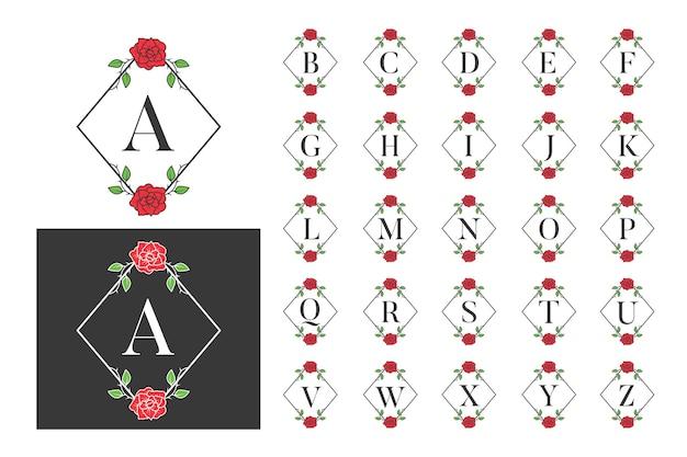 Conjunto de alfabeto de logotipo de rosa de monograma de lujo