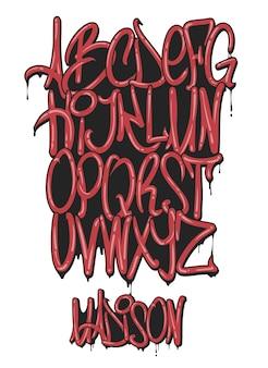 Conjunto de alfabeto de marcador de graffiti, ilustración.