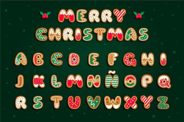 Conjunto de alfabeto de navidad de pan de jengibre