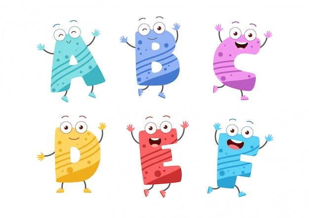 Conjunto de alfabeto de niño lindo