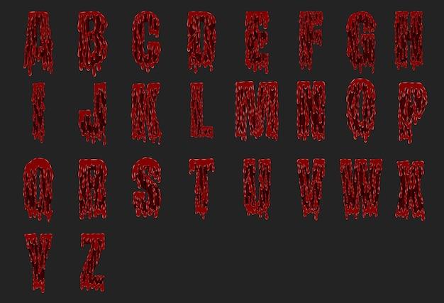 Conjunto de alfabeto sangriento de halloween de vector