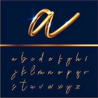 Conjunto de alfabeto de texto dorado