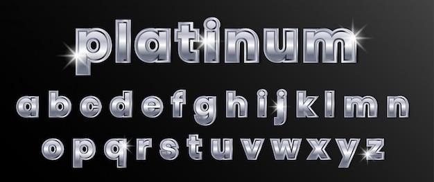 Conjunto de alfabeto de texto de plata y cromo platino