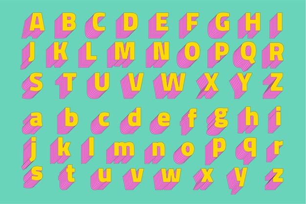 Conjunto de alfabeto tipografía estilizada 3d