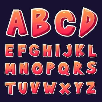 Conjunto de alfabetos de diseño 3d