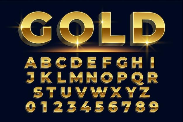 Conjunto de alfabetos con efecto de texto brillante dorado premium