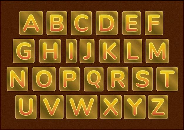 Conjunto de alfabetos de marco de barra de oro