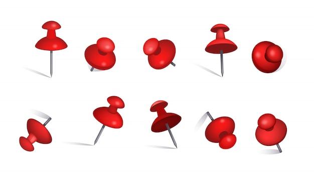 Conjunto de alfileres de papel rojo.