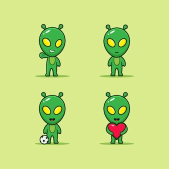 Conjunto de alien kawaii con expresión