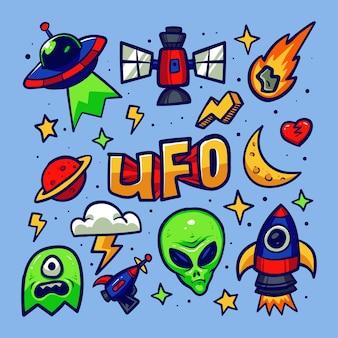 Conjunto de alien space doodle sketch aislado en azul