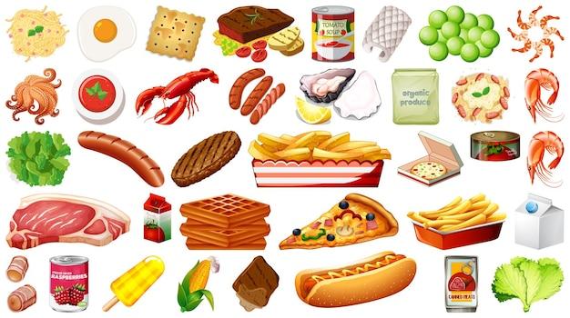 Conjunto de alimentos aislado