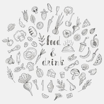 Conjunto de alimentos y bebidas doodle