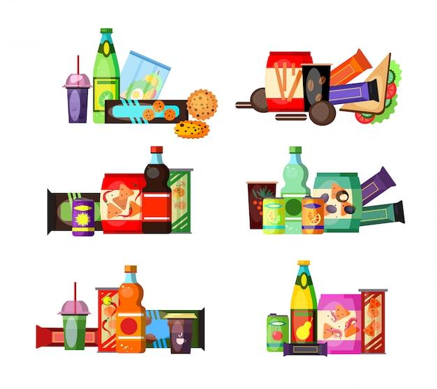 Conjunto de alimentos y bebidas poco saludables.