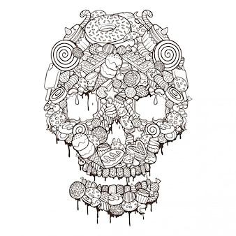 Conjunto de alimentos cráneo ilustración contorno