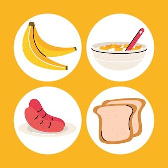 Conjunto de alimentos para el desayuno