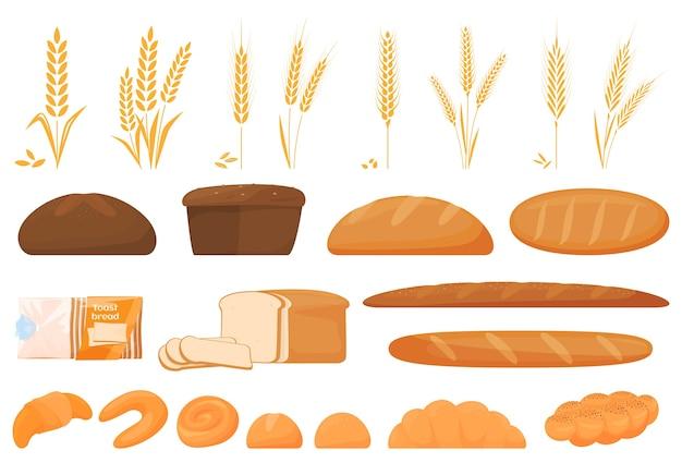 Conjunto de alimentos de dibujos animados: ciabatta, pan integral, bagel, baguette francés, croissant, etc.