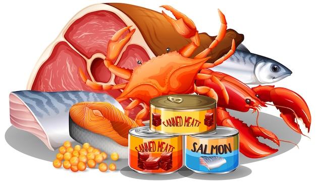 Conjunto de alimentos de diferentes carnes con comida enlatada.