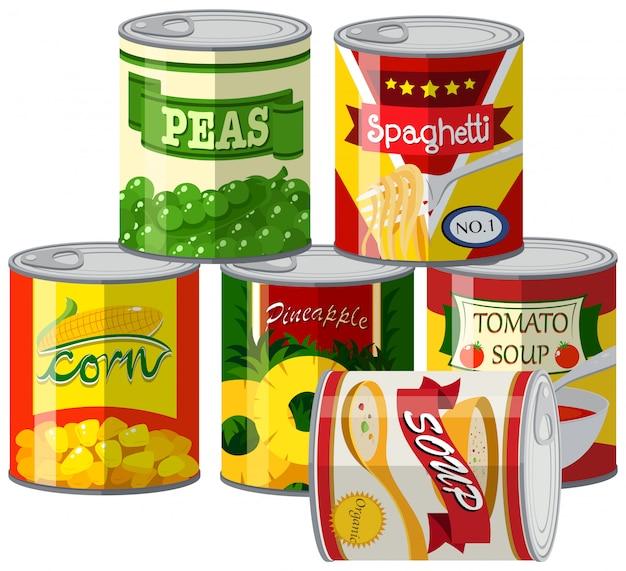 Conjunto de alimentos enlatados