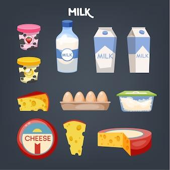 Conjunto de alimentos lácteos. recogida de producto elaborado con leche