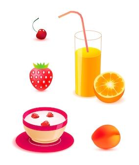Conjunto de alimentos saludables, ilustraciones de desayuno. jugo de naranja, yogur con bayas, melocotón, cereza, fresa aislado