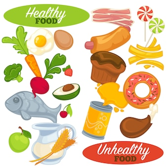 Conjunto de alimentos saludables y no saludables.