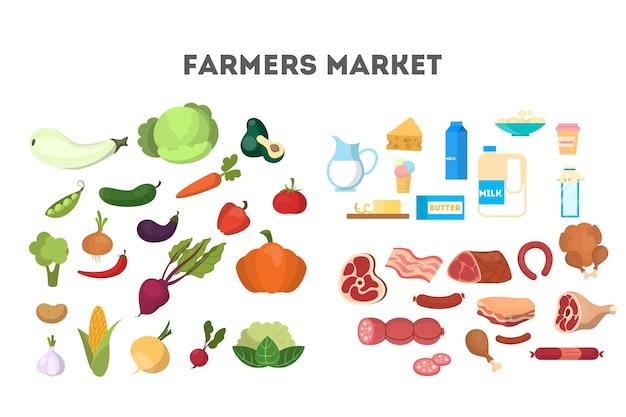 Conjunto de alimentos saludables. recolección de productos lácteos