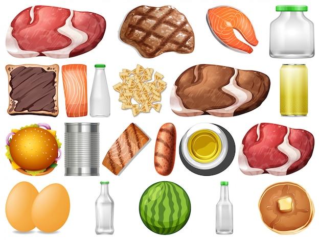 Conjunto de alimentos saludables