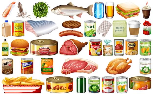 Conjunto de alimentos sobre fondo blanco