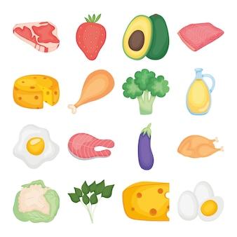 Conjunto de alimentos sobre fondo blanco.