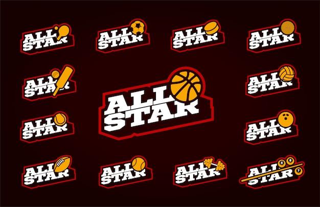 Conjunto all star sport. tipografía profesional moderna deporte retro