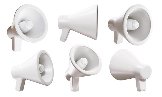 Conjunto de altavoces de promoción 3d de megáfono blanco