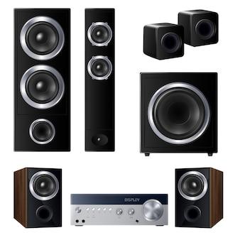 Conjunto de altavoces realistas de varios tamaños y dispositivo de audio central ilustración aislada