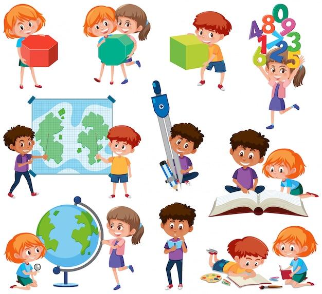 Conjunto de alumnos con herramientas de aprendizaje.