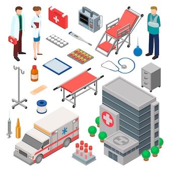 Conjunto de ambulancia, carácter médico y elementos médicos de tratamientos médicos.