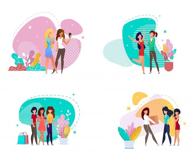 Conjunto de amistad de dibujos animados de mujeres en varios estilos de vida