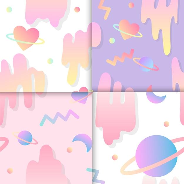 Conjunto de amor en vectores de fondo de espacio