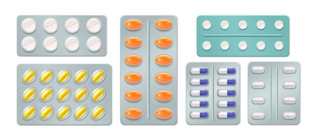Conjunto de ampollas con píldoras y cápsulas medicinales