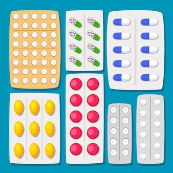 Conjunto de ampollas de píldoras de dibujos animados