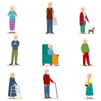 Conjunto de anciana senior y hombre en acción diferente