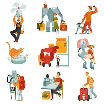Conjunto de androides de robots