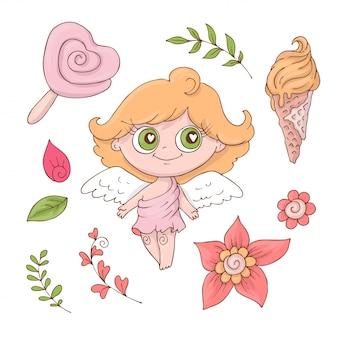 Conjunto de ángeles lindos de la historieta para el día de valentine s