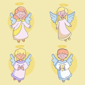Conjunto de ángeles de navidad dibujados