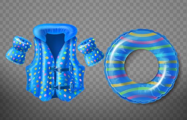Conjunto con anillo de goma azul, chaleco salvavidas y brazaletes inflables para niños.