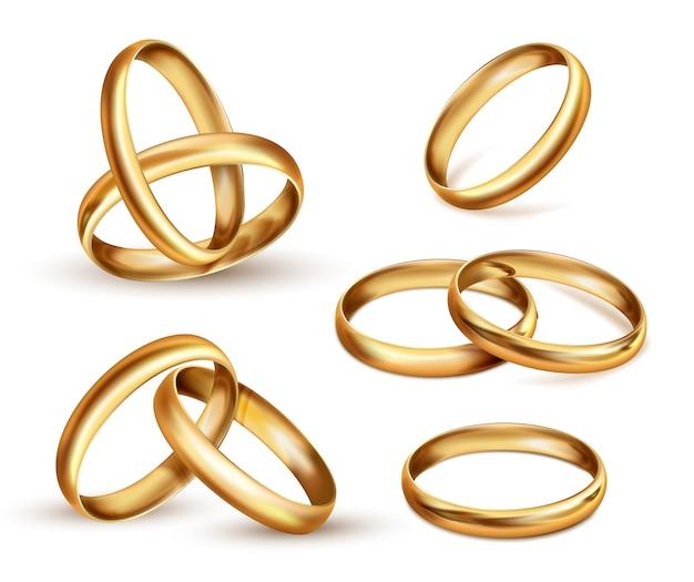 Conjunto de anillos de boda de oro, símbolo de regalo de ceremonia