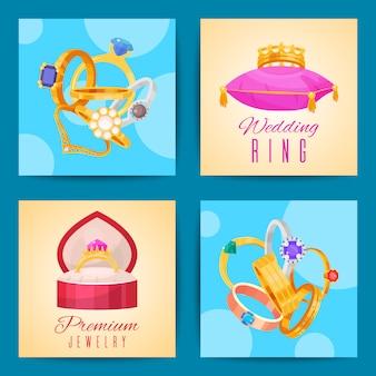 Conjunto de anillos de bodas de oro y plata en ilustraciones de metal. joyas ceremonia de diamantes piedras preciosas presente.