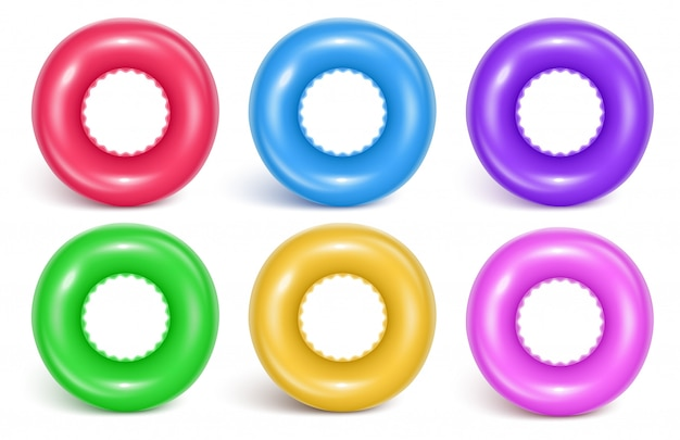 Conjunto de anillos inflables de natación.