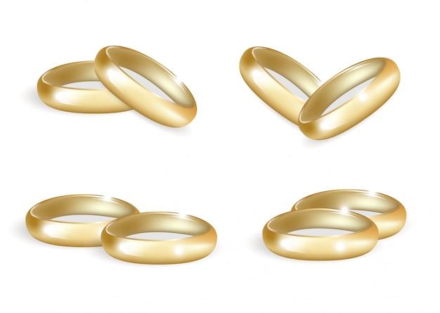 Conjunto de anillos de oro de boda realista. colección de bandas 3d aislado sobre fondo blanco. .