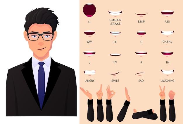 Conjunto de animación de boca de hombre de negocios y sincronización de labios. hombre con abrigo de traje negro para presentaciones con gestos de mano hifrent planos