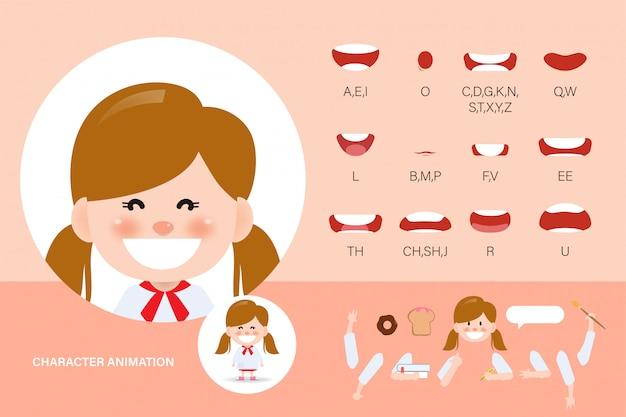 Conjunto de animación de boca para niños. sincronización de labios colección personaje animación niño.