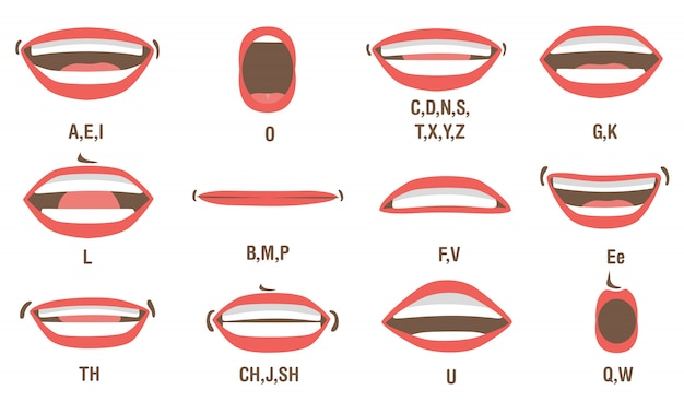 Conjunto de animación de boca